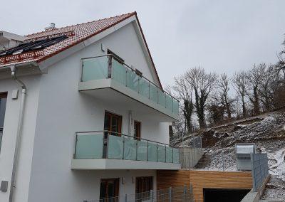 Balkongeländer komplett Edelstahl + Deckenblende in weiß