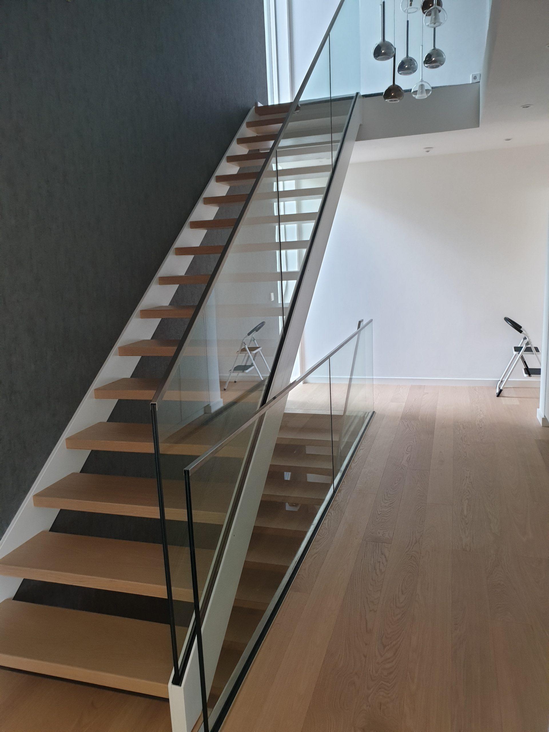Treppenanlagen Wangen Pulverbeschichtet - Holzstufen - Ganzglasgeländer
